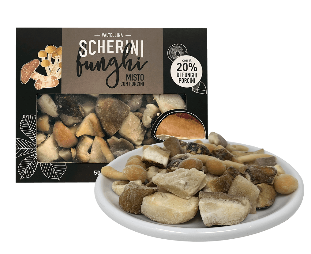 Mixed cultivated and wild frozen mushrooms