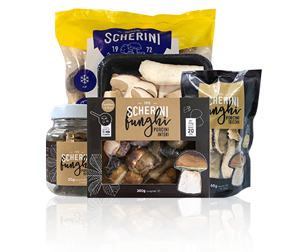 Scherini dried and frozen cultivated and wild mushrooms